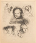Fine Art - Work on Paper:Print, After Rembrandt van Rijn (Dutch, 1606-1669). Head of Saskia and Others. Etching. 5-7/8 x 4-7/8 inches (14.9 x 12.4 cm). ...