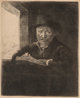 After Rembrandt van Rijn (Dutch) Rembrandt Drawing at a Window Etching 6-1/4 x 5-1/8 inches (15.9 x 13.0 cm) Signed