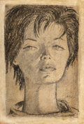 Fine Art - Work on Paper:Drawing, Angel Botello (Puerto Rican, 1913-1986). Portrait. Mixedmedia on board. 24-1/2 x 17 inches (62.2 x 43.2 cm). Signed low...