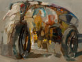 Fine Art - Painting, European, Italian School (20th Century). Motorcycle, 1969. Oil oncanvas. 24-1/4 x 23 inches (61.6 x 58.4 cm)