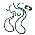 Estate Jewelry:Lots, Malachite, Gold Jewelry . ... (Total: 4 Items)
