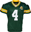 Football Collectibles:Uniforms, 2007 Brett Favre Game Worn, Signed Green Bay Packers Jersey - Used 10/7 vs. Bears (Photo Matched). ...