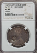 Mozambique: Portuguese Colony Counterstamped Rupee ND (1889) AU55 NGC