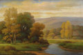Fine Art - Painting, American:Modern  (1900 1949)  , HOWARD ATKINSON (American, Twentieth Century). AutumnLandscape. Oil on canvas. 24 x 36 inches (61.0 x 91.4 cm).Signed ...