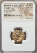 Ancients:Greek, Ancients: BOSPORAN KINGDOM. Rhescuporis II (AD 211-227), withElagabalus (?). EL stater (7.59 gm). NGC Choice VF 4/5 -3/5. ...