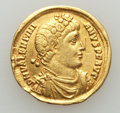 Ancients:Roman Imperial, Ancients: Valentinian I (AD 364-375). AV solidus (21mm, 4.35 gm).Fine, graffito, clipped....