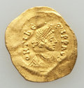 Ancients:Byzantine, Ancients: Maurice Tiberius (AD 582-602). AV tremissis (18mm, 1.06gm). Choice VF, wavy flan, clipped....