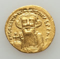 Ancients:Byzantine, Ancients: Constans II (AD 641-668). AV solidus (20mm, 4.40 gm). About XF, graffito....