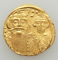 Ancients:Byzantine, Ancients: Constans II Pogonatus (AD 641-668), with Constantine IV,Heraclius and Tiberius. AV solidus (4.35 gm). About XF, clipped....