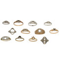 Estate Jewelry:Rings, Diamond, Synthetic Stone, Gold Semi-Mounts . ... (Total: 12 Items)