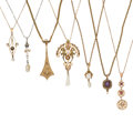 Estate Jewelry:Necklaces, Diamond, Multi-Stone, Gold, Metal Pendant-Necklaces . ... (Total: 7Items)