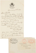 Baseball Collectibles:Others, 1934 George Wright Handwritten Signed Letter....