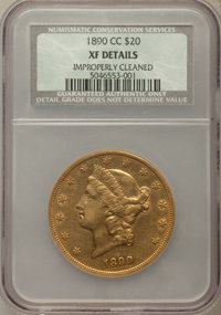 1890-CC $20 -- Improperly Cleaned -- NCS. XF Details. Variety 1-A....(PCGS# 9014)
