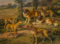 Fine Art - Painting, American, Edmund Henry Osthaus (American, 1858-1928). Harold Lloyd'sDogs, c. 1924. Oil on canvas. 36-1/4 x 48 inches (92.1 x121....