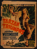 "Movie Posters:Adventure, Tarzan Triumphs (RKO, 1943). Trimmed Window Card (14"" X 18.5"").Adventure.. ..."