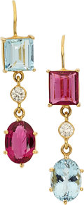 Estate Jewelry:Earrings, Aquamarine, Pink Tourmaline, Diamond, Gold Earrings. ...