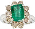 Estate Jewelry:Rings, Emerald, Colored Diamond, White Gold Ring. ...