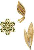 Estate Jewelry:Brooches - Pins, Diamond, Multi-Stone, Enamel, Gold Brooches. ... (Total: 3 Items)