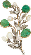 Estate Jewelry:Brooches - Pins, Emerald, Cultured Pearl, Diamond, Silver-Topped Gold Brooch. ...