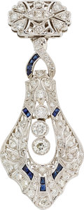Estate Jewelry:Pendants and Lockets, Diamond, Synthetic Sapphire, Platinum, White Gold Pendant. ...