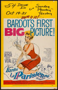 """Movie Posters:Foreign, La Parisienne (United Artists, 1958). Window Card (14"""" X 22""""). Foreign.. ..."""
