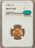 Lincoln Cents, 1948-S 1C MS67+ Red NGC. CAC. NGC Census: (569/0). PCGS Population: (278/0). Mintage 81,735,000....