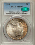 Peace Dollars: , 1924 $1 MS66+ PCGS. CAC. PCGS Population: (734/35 and 74/0+). NGCCensus: (1299/87 and 73/2+). CDN: $380 Whsle. Bid for pro...