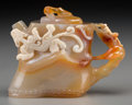 Other, A Chinese Carved Agate Bamboo-Form Teapot. 2-7/8 inches high (7.3 cm). ...