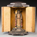Asian:Japanese, A Japanese Lacquered Portable Jizo Bosatsu Shrine, Edo Period. 7inches high (17.8 cm). ...