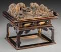 Asian:Japanese, A Japanese Polychrome Carved Wood Figural Landscape on LacqueredStand. 7-1/2 h x 9-1/8 w x 6-1/2 d inches (19.1 x 23.2 x 16...