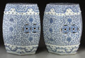 Asian:Chinese, A Pair of Chinese Export Blue and White Porcelain Hexagonal GardenSeats from the Estate of Jacqueline Kennedy Onassis, earl...(Total: 3 Items)
