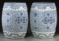 A Pair of Chinese Export Blue and White Porcelain Hexagonal Garden Seats from the Estate of Jacqueline Kennedy Onassis