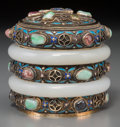 Asian:Chinese, A Chinese Export Enameled Silver Box with Inlaid Semi PreciousStones, 20th century. Marks: SILVER. 3-3/8 inches high x ...