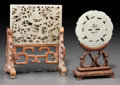 Asian:Chinese, A Chinese Carved White Jade Plaque and Disc with Stands, Ming-QingDynasties. 2-1/4 inches high x 2-7/8 inches wide (5.7 x 7...(Total: 2 Items)