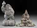 Asian:Japanese, A Japanese Bronze Figure of Daikoku and a Figure of Ebisu, TaishoPeriod, circa 1912-1926. Marks: (artist's cipher to verso ...(Total: 2 Items)