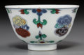 Ceramics & Porcelain, A Chinese Doucai Porcelain Cup, Qing Dynasty, 18th century. Marks: Six-character Chenghua mark in blue underglaze but of a l...