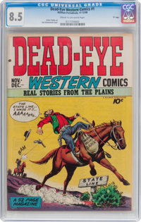 "Dead-Eye Western Comics V1#1 ""D"" Copy Pedigree (Hillman Publications, 1948) CGC VF+ 8.5 Cream to off-white pag..."