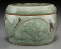 Asian:Chinese, A Chinese Tobi Seiji Decorated Longquan Celadon Jar, Yuan Dynasty, 14th century. 3-3/8 inches high x 4-3/4 inches diameter (...