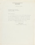 Autographs, Albert Einstein Typed Letter Signed. One page on I...