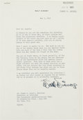 "Autographs:Artists, Walt Disney Typed Letter Signed. One page, 7.25"" x..."