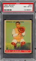 Baseball Cards:Singles (1930-1939), 1933 Goudey Muddy Ruel #18 PSA NM-MT 8 - Only One Higher....