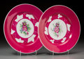 Ceramics & Porcelain, Russian, A Pair of Russian Gardner Porcelain Plates with Floral Motifs,circa 1880. Marks: (red Gardner mark). 9 inches diameter (22....(Total: 2 Items)