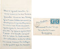Autographs:Authors, George Sand Autograph Letter Signed to Victor Hugo with TransmittalEnvelope and Image of Sand.... (Total: 3 Items)