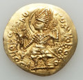 Ancients:Oriental, Ancients: INDIA. Kushan Empire. Kanishka II (ca. AD 225-240). AV dinar (28mm, 7.97 gm). About XF, flan flaw....