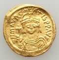 Ancients:Byzantine, Ancients: Maurice Tiberius (582-602). AV solidus (20mm, 4.20 gm).VF, clipped. ...