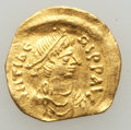 Ancients:Byzantine, Ancients: Maurice Tiberius (AD 582-602). AV tremissis (15mm, 1.34gm). VF, slightly wavy flan, clipped....