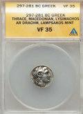 Ancients:Greek, Ancients: THRACIAN KINGDOM. Lysimachos. As King, 306-281 BC. ARdrachm. ANACS VF 35....