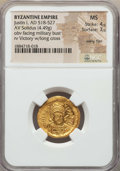 Ancients:Byzantine, Ancients: Justin I (AD 518-527). AV solidus (4.49 gm). NGC MS4/5 - 3/5, wavy flan....
