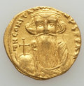 Ancients:Byzantine, Ancients: Constans II (AD 641-668). AV solidus (4.44 gm). VF,graffito, clipped....