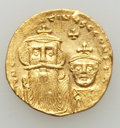 Ancients:Byzantine, Ancients: Constans II (AD 641-668) & Constantine IV (AD654-685). AV solidus (4.26 gm). AU, clipped, graffito....